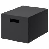 ТЬЕНА Коробка с крышкой, черный, 25x35x20 см