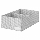 СТУК Ящик с отделениями, белый/серый, 20x34x10 см