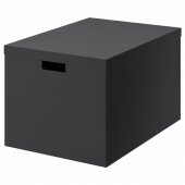 ТЬЕНА Коробка с крышкой, черный, 35x50x30 см