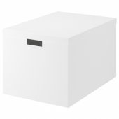 ТЬЕНА Коробка с крышкой, белый, 35x50x30 см