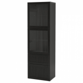 БЕСТО Комбинация д/хранения+стекл дверц, черно-коричневый, Ханвикен черно-коричневый прозрачное стекло, 60x42x193 см